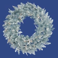 6' Pre-Lit Silver Ashley Spruce Tinsel Christmas Wreath - Clear Lights