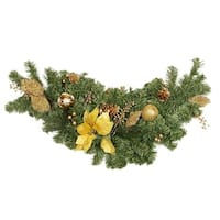"""36"""" Pre-Decorated Gold Poinsettia, Apple and Berry Artificial Christmas Swag - Unlit"""