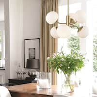 Mitzi by Hudson Valley Estee 6-light Aged Brass Chandelier, Opal Etched Glass