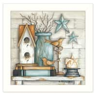 """""""Birdhouse on Books"""" By Mary June, Printed Wall Art, Ready To Hang Framed Poster, White Frame"""