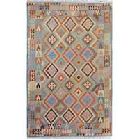 Arshs Fine Rugs Handwoven Arya Collection Rogelio Blue/Grey Wool Rug - 6'6 x 9'10