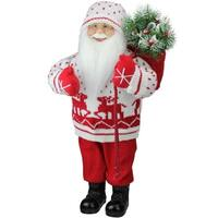 "18.5"" Retro Christmas Santa in Knit Deer Sweater with Sack of Pine Figure Decoration"