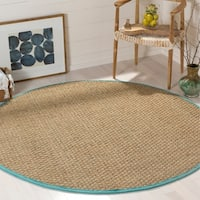Safavieh Natural Fiber Natural/ Teal Seagrass Rug - 6' Round