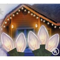 Set of 25 Transparent Clear C9 Twinkle Christmas Lights - Green Wire