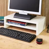 Eco 2 Tier Computer Monitor Stand TV Shelf and Laptop Risers, White LIFETIME GUARANTEE