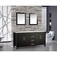 60 inch Belvedere Freestanding Espresso Double Bathroom Vanity w/ stone top