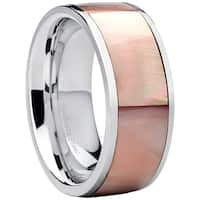 Oliveti Women's Stainless Steel Pink Mother of Pearl Wedding Band Fashion Ring