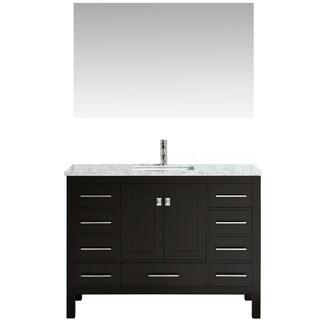 "Eviva Aberdeen 42"" Transitional Espresso Bathroom Vanity with White Carrera Countertop"