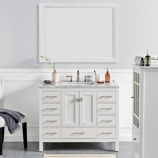 """Eviva Aberdeen 42"""" Transitional White Bathroom Vanity with White Carrera Countertop"""