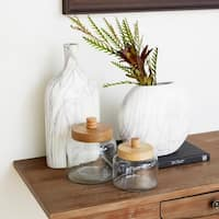 Studio 350 Glass Wood Jar Set of 2, 5 inches, 6 inches high