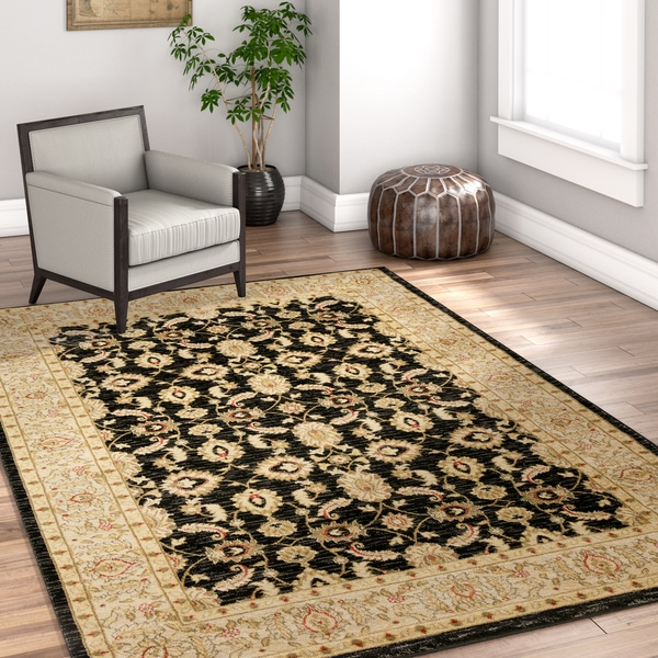 Well Woven Vienna Black Traditional Oriental Country Soft Eclectic Floral Area Rug - 7' 10 x 10' 6