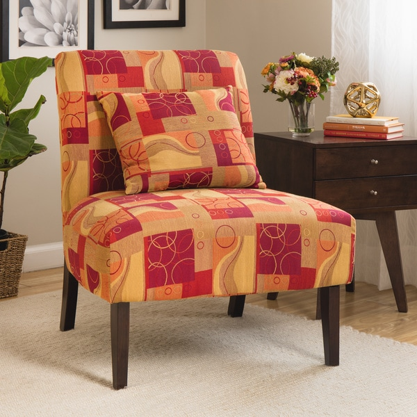 Accent Chair Geometric Red 10139098 Overstock Com
