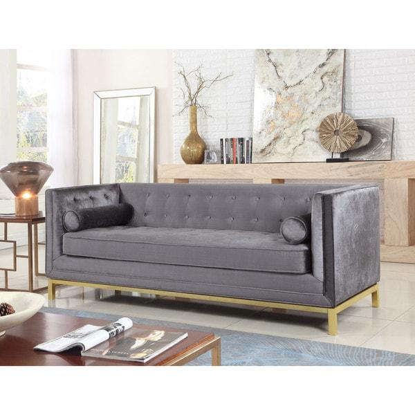 Chic Home Evie Club Sofa Tufted Velvet Plush Cushion Couch, Modern Contemporary