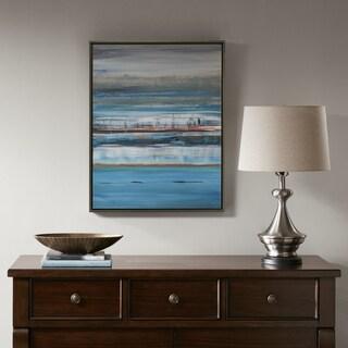 Madison Park Signature Blue Horizon Glass Coat Framed Canvas With MDF backer