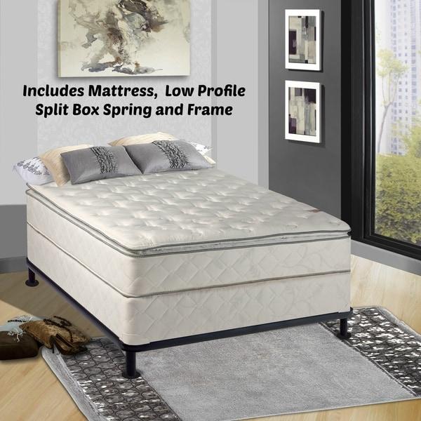Continental Sleep, Medium Plush Pillowtop Orthopedic type Mattress and 5-inch Split Box Spring with Frame