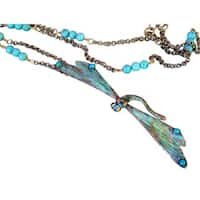 Handmade Patina Decorative Dragonfly Long Necklace -Turquoise (USA)