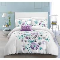 Chic Home Mitzy Lavender Floral Cotton Reversible 4 Piece Duvet Cover Set