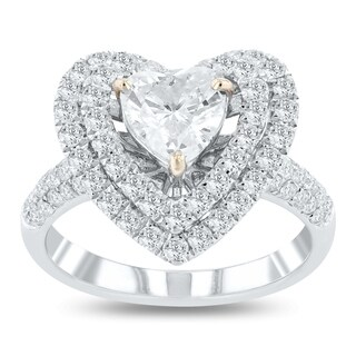 Auriya 18k White Gold Certified 1 7/8ct TDW Heart Shaped Diamond Halo Engagement Ring