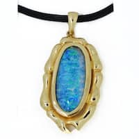 Kabella 14k Boulder Doublet 9 x 21 mm Opal Pendant Black Cord Necklace