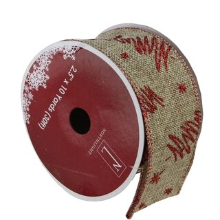 """Red Tree and Beige Burlap Wired Christmas Craft Ribbon 2.5"""" x 120 Yards"""