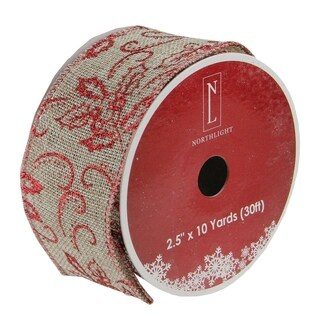 """Holly Red and Beige Burlap Wired Christmas Craft Ribbon 2.5"""" x 120 Yards"""