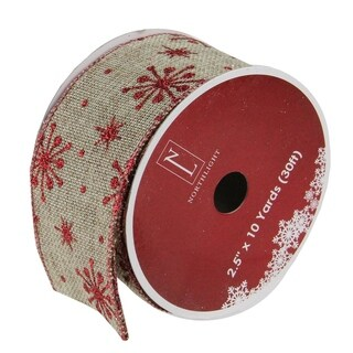 """Red Snowflake and Beige Burlap Wired Christmas Craft Ribbon 2.5"""" x 120 Yards"""