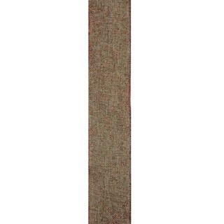 """Beige Burlp and Red Trim Wired Christmas Craft Ribbon 2.5"""" x 120 Yards"""