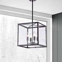 La Pedriza Antique Black 4-Light Square Cage Chandelier