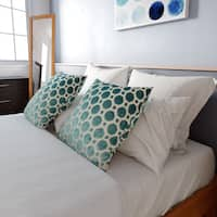 Porch & Den Benson Menlo Turquoise Geometric 18-inch Feather and Down-filled Pillow