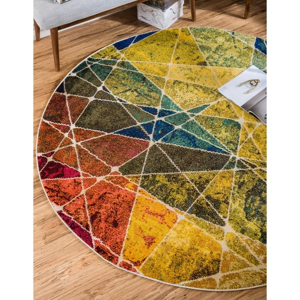 Unique Loom Nova Estrella Round Rug - 6' x 6'