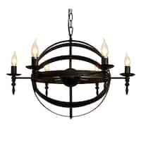 Old World 6 Light Rustic Globe Pendant Chandelier - Copper