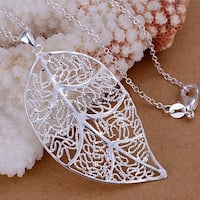 Orchid Jewelry Silver Overlay Filigree Leaf Pednat with Chain