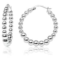 Mondevio High Polished Graduated Beaded 20mm Hoop Earrings in Sterling Silver