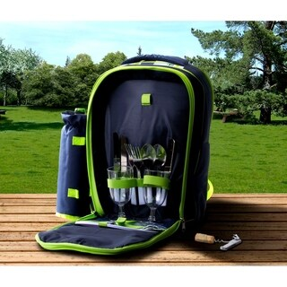 Insulated Picnic Basket - Tote Backpack Cooler w/ Place Settings (Blue/Green)