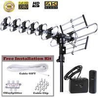 FiveStar Outdoor 4K HDTV Antenna 200 Miles 360 Degree UHF/VHF/FM Remote Control