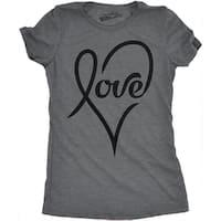 Womens Love Cursive Heart T shirt