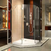 DreamLine Prism Lux 38 in. x 38 in. x 74 3/4 in. H Frameless Hinged Shower Enclosure and SlimLine Shower Base Kit