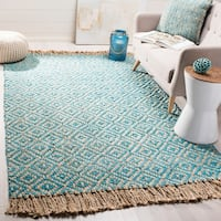 Safavieh Hand-Woven Natural Fiber Turquoise/ Natural Jute Rug - 8' x 10'