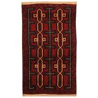 Handmade Herat Oriental Afghan Hand-knotted Tribal Balouchi Wool Rug (Afghanistan) - 2'7 x 4'5