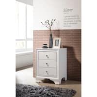 ACME Blaise Nightstand in White with 3 Drawers and USB Port