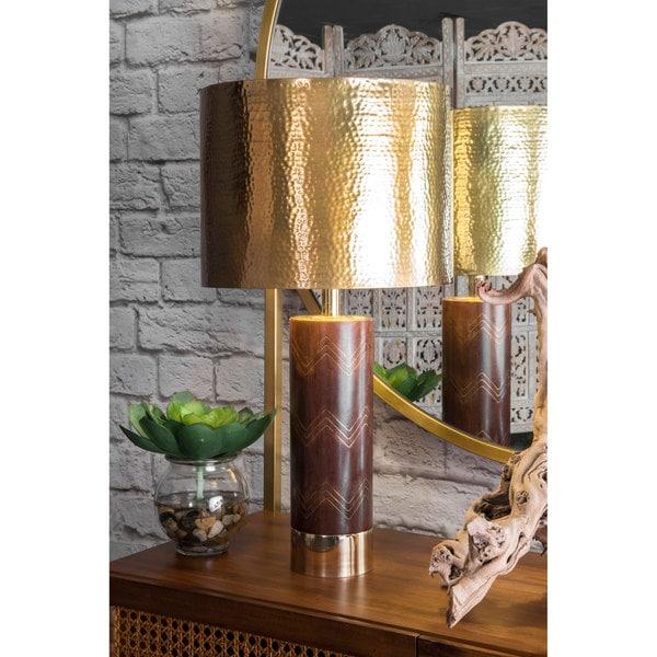 Watch Hill 26-inch Aria Chevron Wood & Iron Aluminium Shade Table Lamp