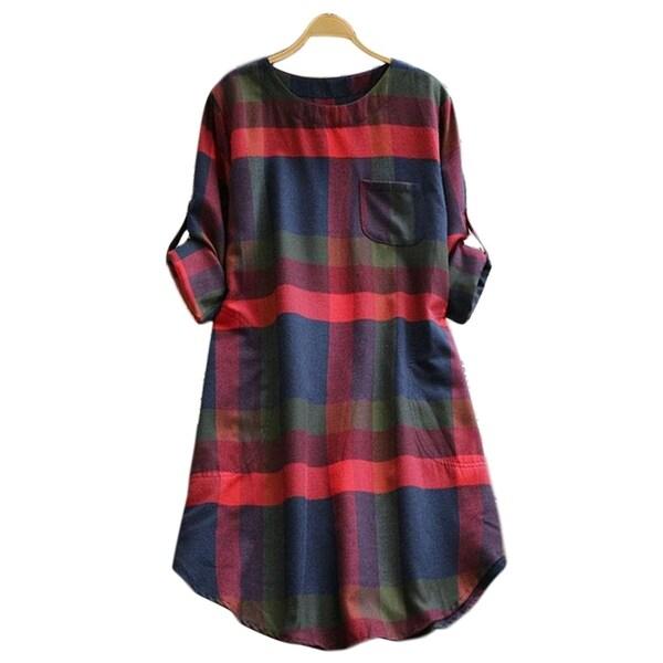 Cupshe Women's Plaid Pattern Round Neck Long Sleeve Skirt Dress