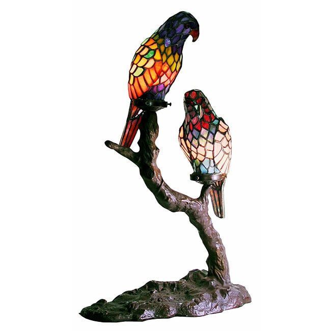 Tiffany Style Exotic Birds Accent Lamp 10259496