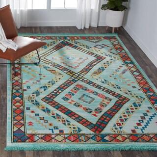 Nourison Tribal Decor Aqua/Multicolor Area Rug - 7'10 x 10'9