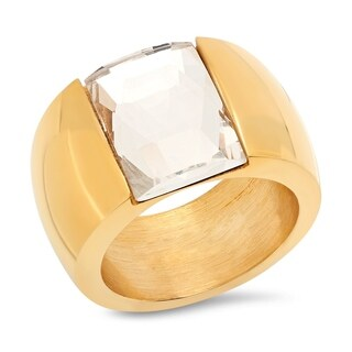 Piatella Ladies Gold Tone Stainless Steel Crystal Band Ring in 2 Colors