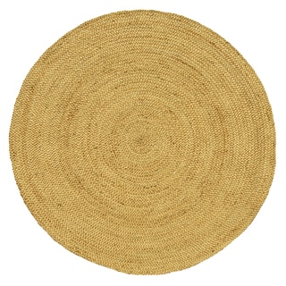 Hand Woven Braided Bleached Natural Jute Rug 8 Round