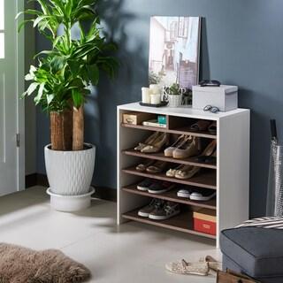 Furniture of America Mercie Urban Two-tone White and Chestnut Brown 6-shelf Shoe Cabinet