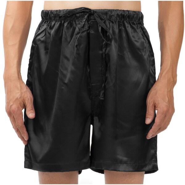 Leisureland Men's Stretch Satin Pajama Boxer Shorts