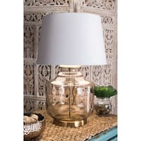 "Watch Hill 26"" Sophia Glass Cotton Shade Gold Table Lamp"