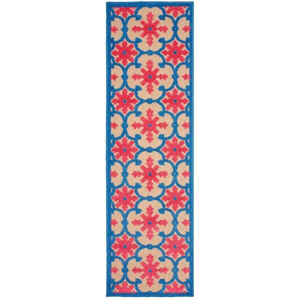 Floral Lattice Sand/ Pink Indoor/Outdoor Rug - 2'3 X 7'6